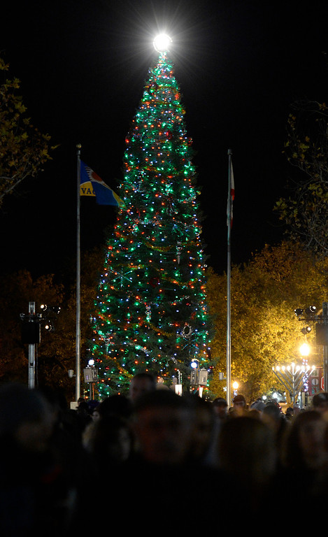 Description of . Crowds mill about Main St. in downtown Vacaville watch as the lights on the Vacaville Christmas Tree are lit during the 31st  annual Merriment on Main celebration on Tuesday, December 3, 2013. .Joel Rosenbaum/JRosenbaum@TheReporter.com
