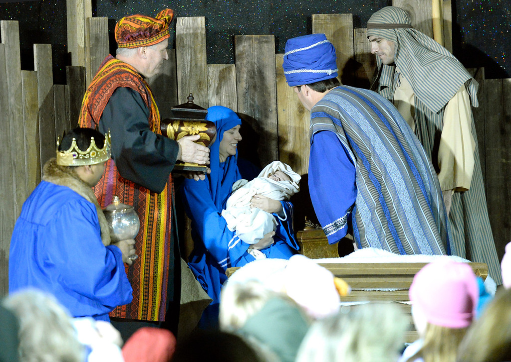. Members of the Crossroads Christian Church stage a Live Nativity Scene in Town Square during the 31st annual Merriment on Main celebration on Tuesday, December 3, 2013. Joel Rosenbaum/JRosenbaum@TheReporter.com